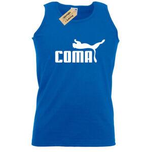 Coma-Divertente-da-Uomo-Canotta-Top-Palestra-Pigro-Novita-Allenamento-Fitness