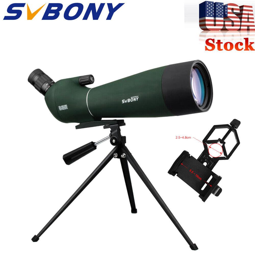 SV28 20-60x80mm Spotting Scope BAK4 Prism Refractor 45°Angled Zoom + Adapter US