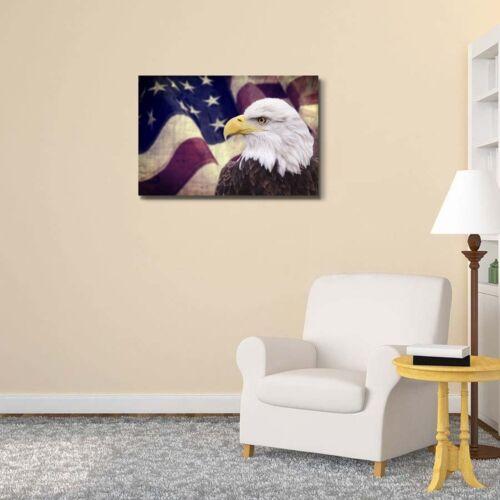 """24/"""" x 36/"""" Холст отпечатки-Белоголовый орлан с американским флагомотечественной тема"""