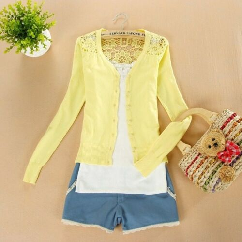 New Womens//Girls Lace Candy Crochet Knit Blouse Tops Sweater Cardigan Petit S.