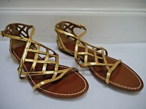 c575f3e63e7ee TORY BURCH  285 Amalie gold metallic leather gladiator sandals size ...