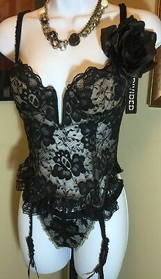 Sexy Black Lace Bustiers Bra & Garters Victoria's Secret 34 B NOS Made in USA
