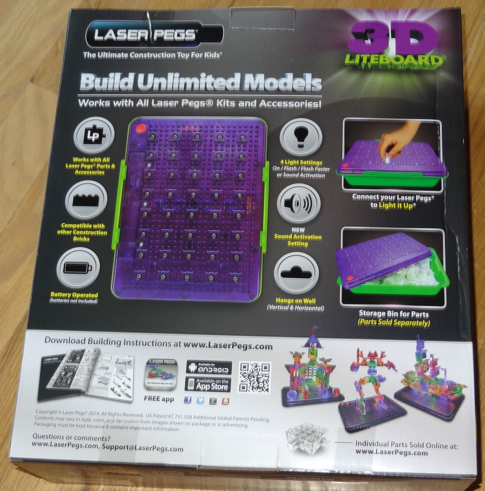 3D Liteboard Sound Activated Power Base /& Storage Bin Laser Pegs Lightboard