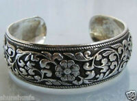 EXQUISITE TIBETAN TIBET SILVER TOTEM BANGLE CUFF BRACELET ( FLOWER )