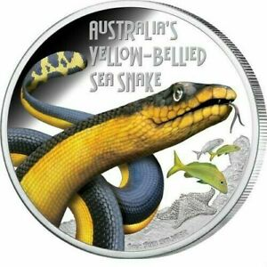 Tuvalu Deadly & Dangerous Yellow-Bellied Sea Snake. $1 2013 Proof Silver Coin.