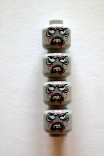 Custom Designed Minifigure Heads 4 X Zombie Walking Dead Printed On LEGO Parts