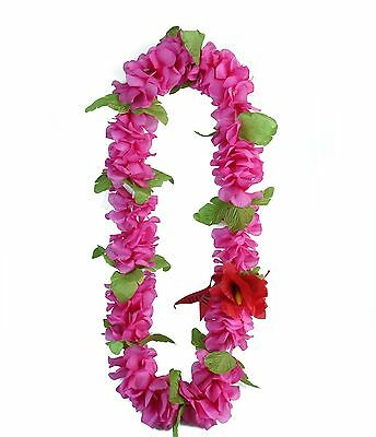 Hawaiian Lei Party Luau Floral Hibiscus Silk Fabric Flower Dance Necklace Blue
