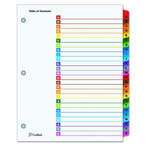 Multicolor Cardinal Brand OneStep Index System A-Z Letter 26-Tab Set of 26