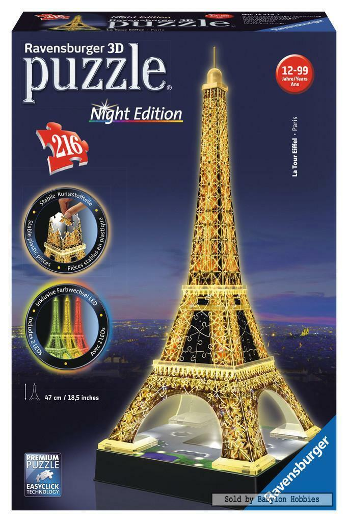 216 st puzzel  Puzzle 3D Night Edition - Eiffeltoren bij Nacht (Puzzle 3D)