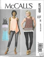 M7389 Misses' Tops Sizes 6-14 Mccall's Sewing Pattern A,b,c,d Cup Sizes