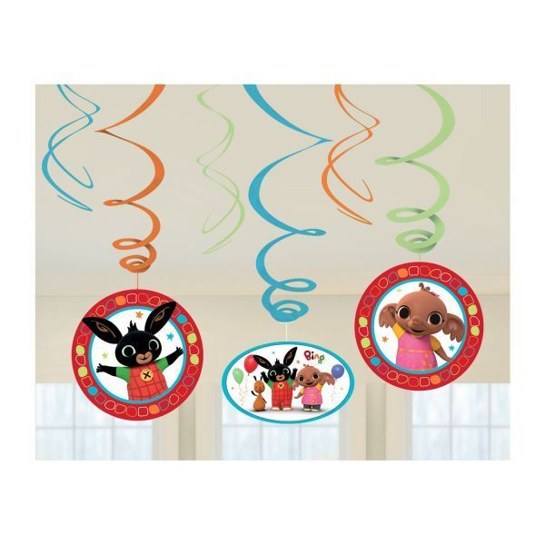 6pk Bing Bunny Swirl Decorations Childrens Birthday Party