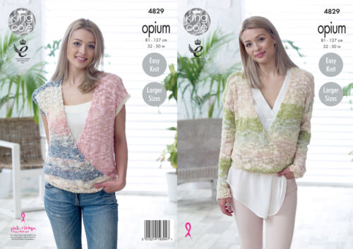 King Cole Womens Opium Knitting Pattern Ladies Easy Knit Sweater /& Top 4829