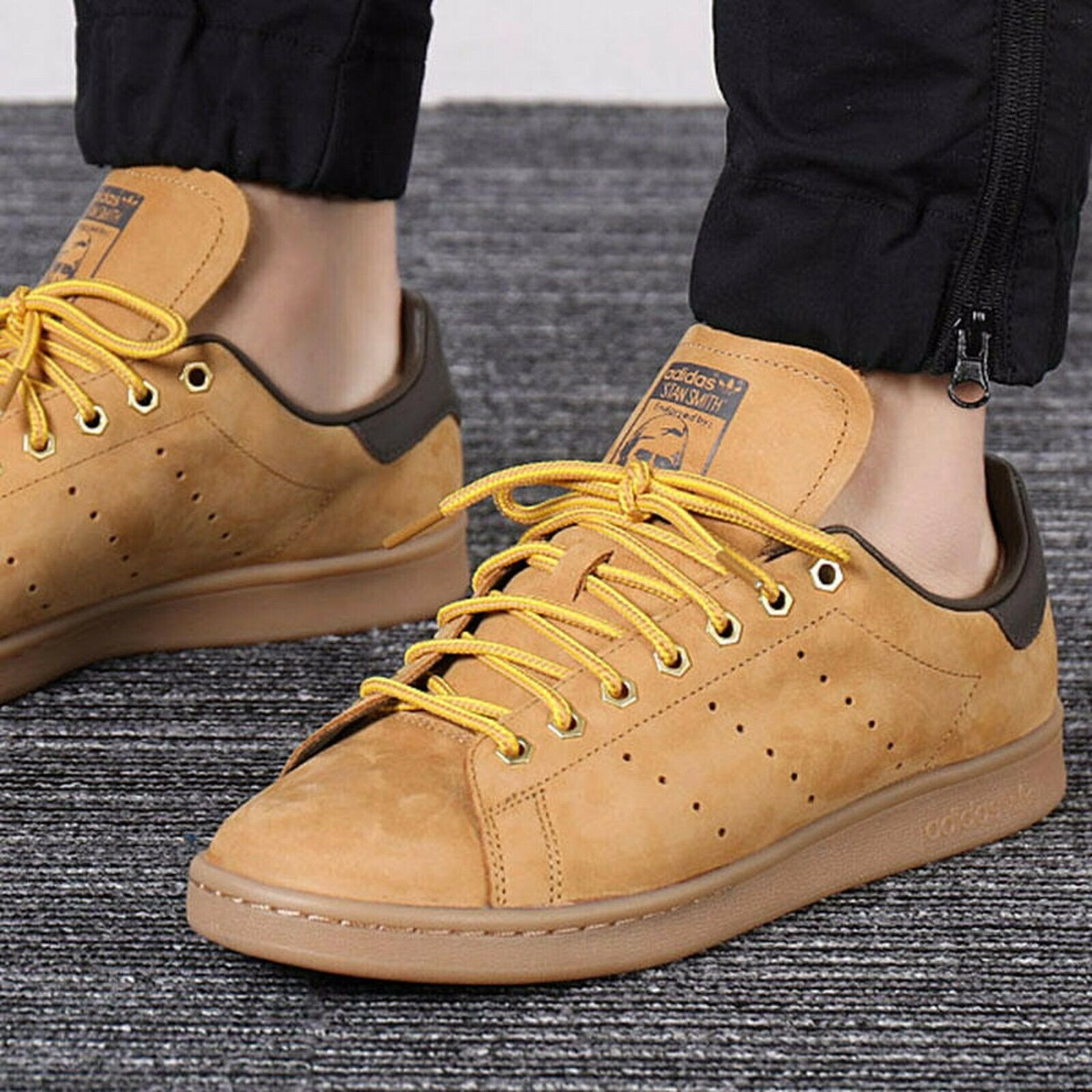 ADIDAS STAN SMITH WP MENS BROWN LEATHER SHOES HAMBURG SUEDE ...
