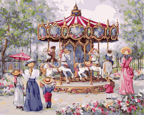 """16X20/"""" Paint By Number Kit DIY Oil Painting on Canvas Flower Carrousel SPA1014"""
