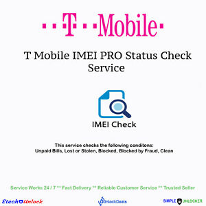 Details about T Mobile USA IMEI Pro Status Check Service For Clean Blocked  Unpaid Bill Fraud