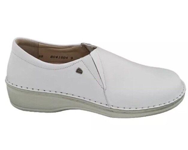 Finn Comfort Classic Newport Nappa Weib blanc Slip On Sz 38 D 3115