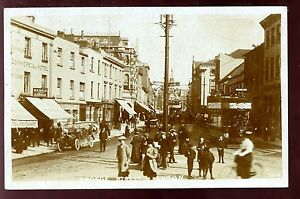 Beds-LUTON-George-St-1908-RP-PPC-super-animated-street-scene-tram-6