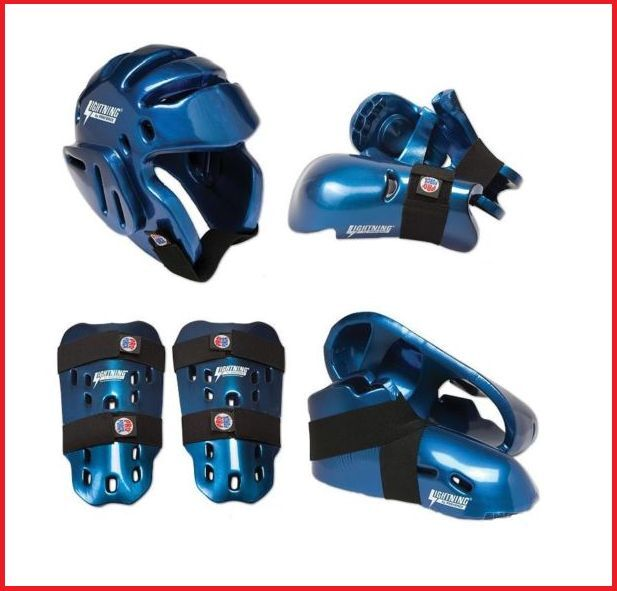 Blau ProForce Sparring Gear Set Heads Shin Foot Guards Karate Taekwondo