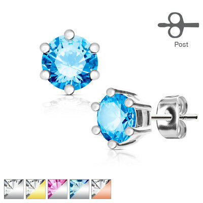 Pair of 316L Surgical Steel Double CZ Spider Stud Earrings