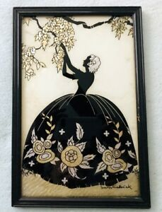 "Silhouette ""blossom Time"" B.e.-20 Framed Artist Signed ""smith Frederick"" b2 Decorative Arts"