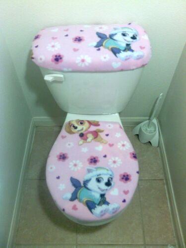 2PC PAW PATROL PINK Fleece Fabric Toilet Seat Cover Set