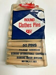 Details About Vintage Diamond Round Wood 50 Clothes Pins Slotted Wooden Clothespins New