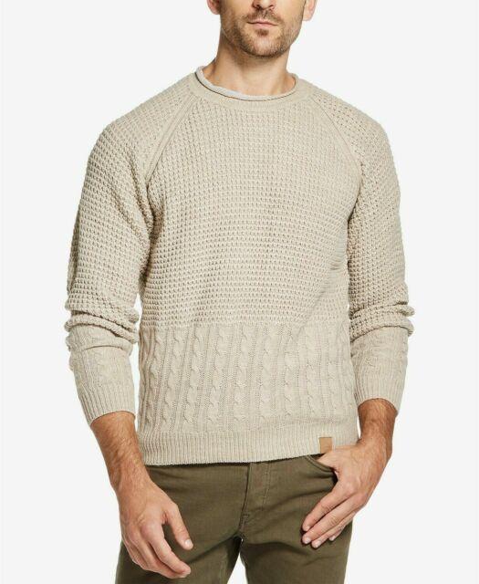 Weatherproof Mens Sweater Navy Blue Size Medium M Ribbed Crewneck #055