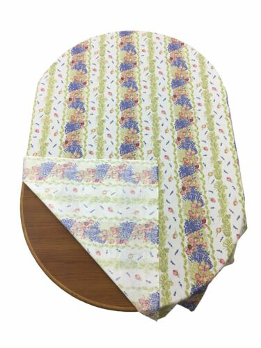Provencal 100/% Coated  Cotton Tablecloth Roses /& Lavender Made In France 61 X 79