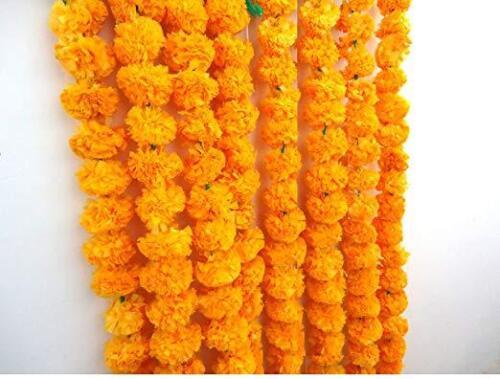 5 Feet Long Marigold Flower Garlands Diwali Home decor set of 5 for Events