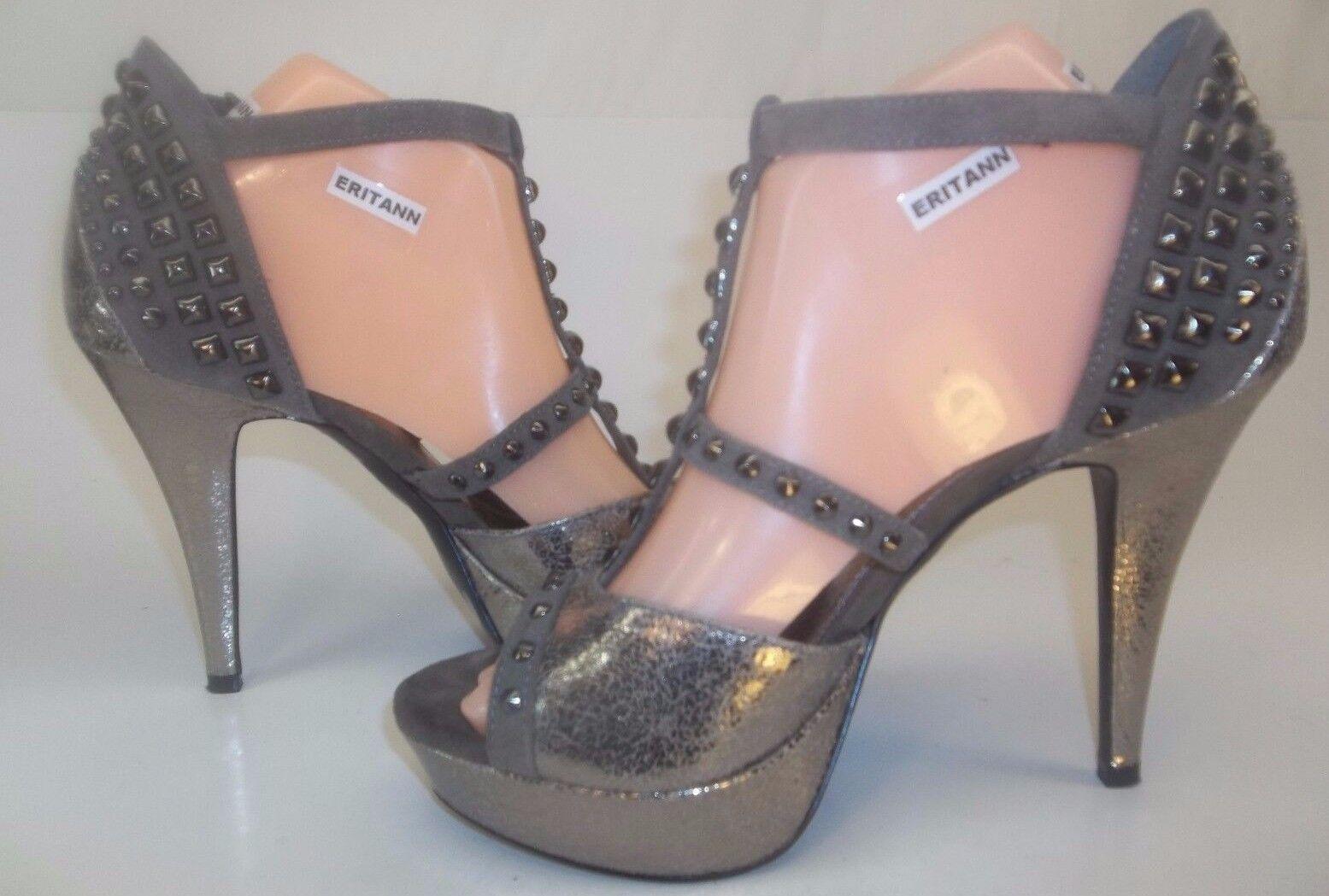Gianni Bini Wos Heels Metallic Platform US 8.5M Gray Metallic Heels Crackle Studded Ankle Strap bb3b6b