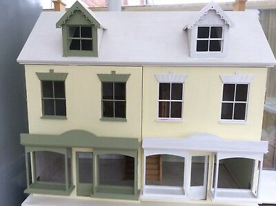 Dolls House Double Fronted Shop Facade Ready Made Unfinished Wood 1:12 Scale