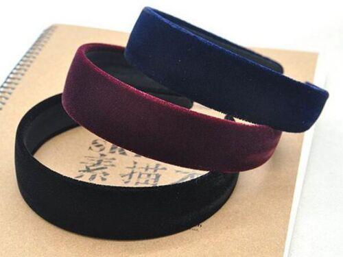 """Velvet Feel Alice Band Bandeau Noir Coréen Cheveux Wear accessori Large 30 mm 1.2/"""""""