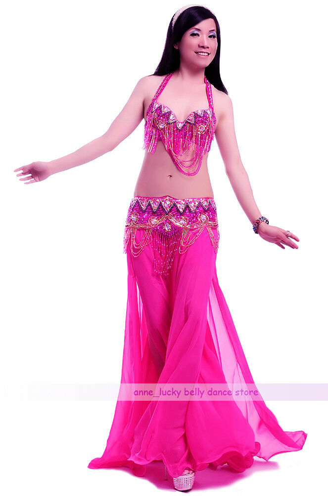 NEW Belly Dance Costume 4Pics Bra/&Belt/&Skirt/&Necklace 34B//C 36B//C 38B//C 2colors