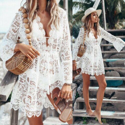 Women Lace Crochet Bikini Cover Up Beach Summer Floral Hollow Out Dress Tops