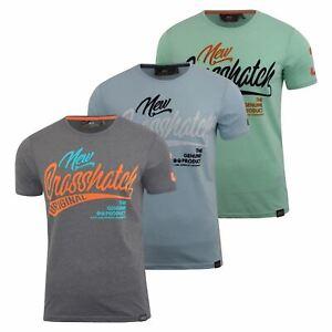Mens-Crosshatch-T-shirt-Maglioc-Top-Tee