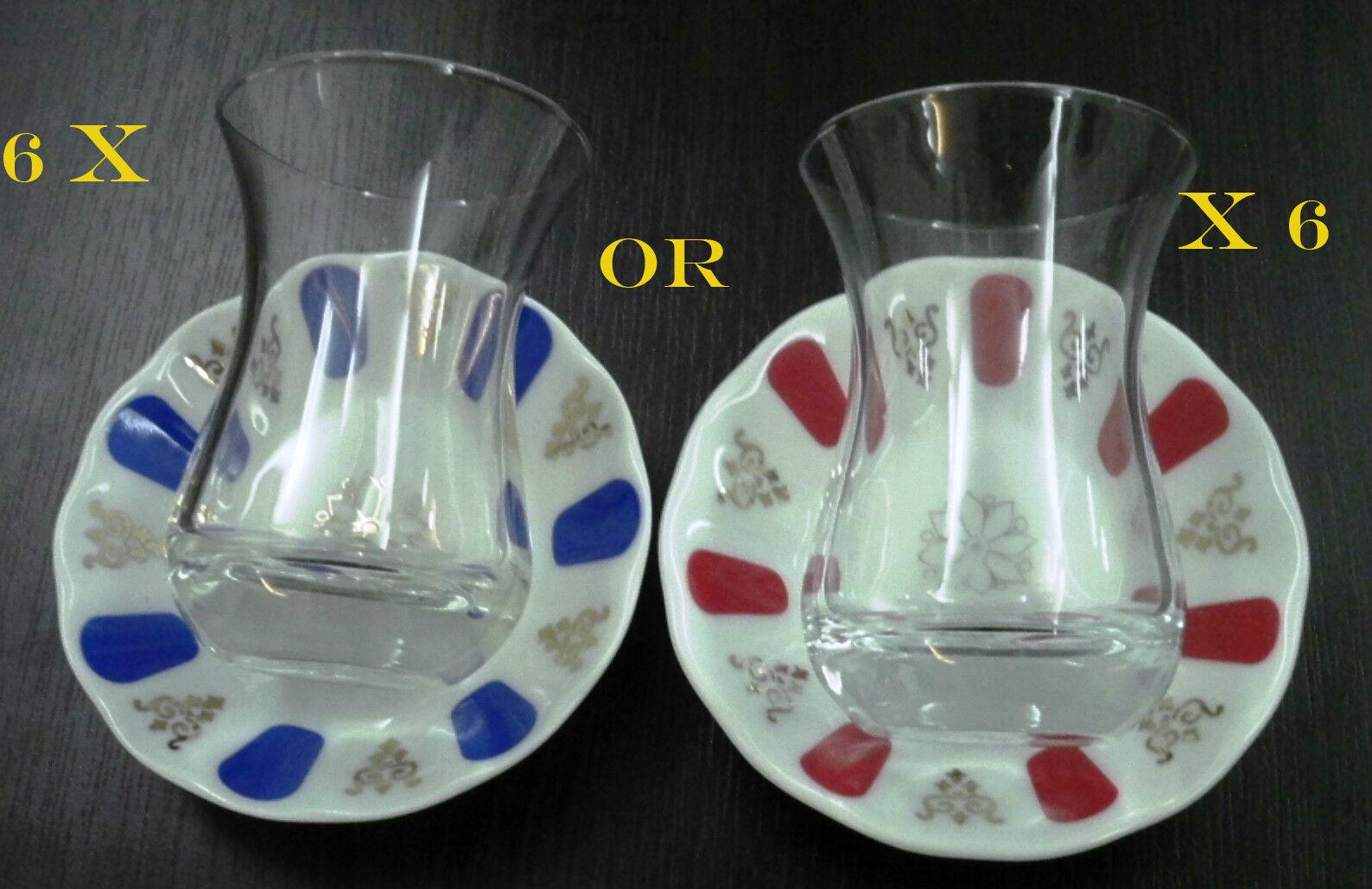 6 x Pasabahce Ince Belli Tea Cups CCGE porcelaine soucoupes turc AJDA Lunettes