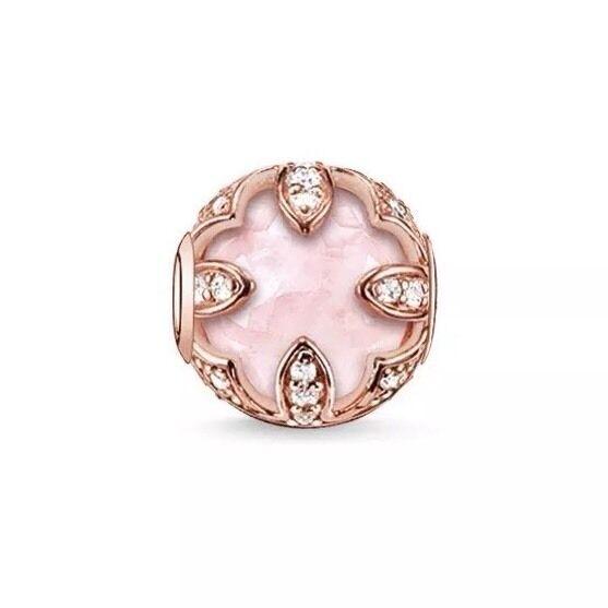 Genuine New Thomas Sabo Karma Bead, pink gold, CZ, pink Quartz Lotus K0099