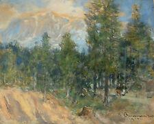Th. v. EHRMANNS (1846-1923) Waldgängerinnen vor Gebirgskulisse