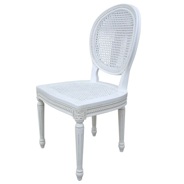 Surprising White Rattan French Chateau Dining Or Bedroom Chair In Solid Mahogany Mwf03 Ncnpc Chair Design For Home Ncnpcorg
