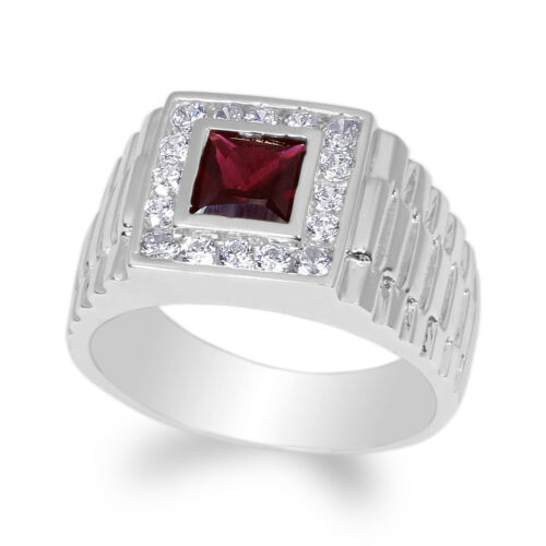 Mens 925 Sterling Silver Plated Garnet Square CZ Wedding Band Ring Size 7-12