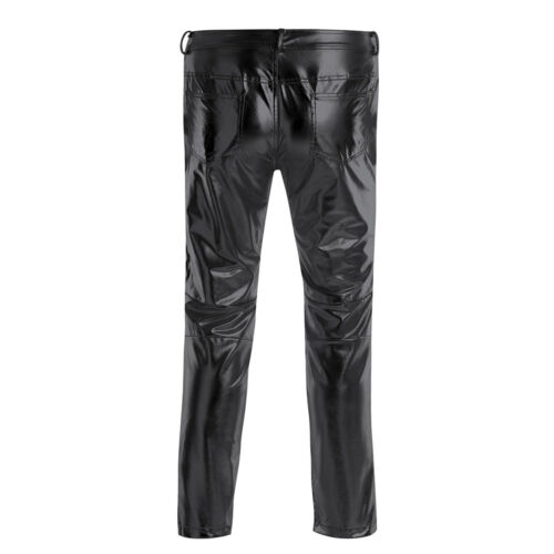 Men/'s Metallic Shiny Clubwear Pants Jeans for Christmas Halloween Party Trousers
