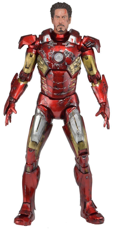 Los Vengadores 1 4 Escala Figura Battle Damaged Iron Man Con Luces Led-Neca Marvel