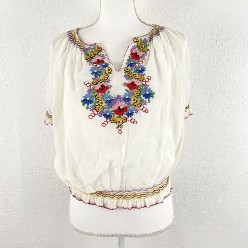 Vtg Hungarian Small Blouse Embroidered Floral She… - image 1