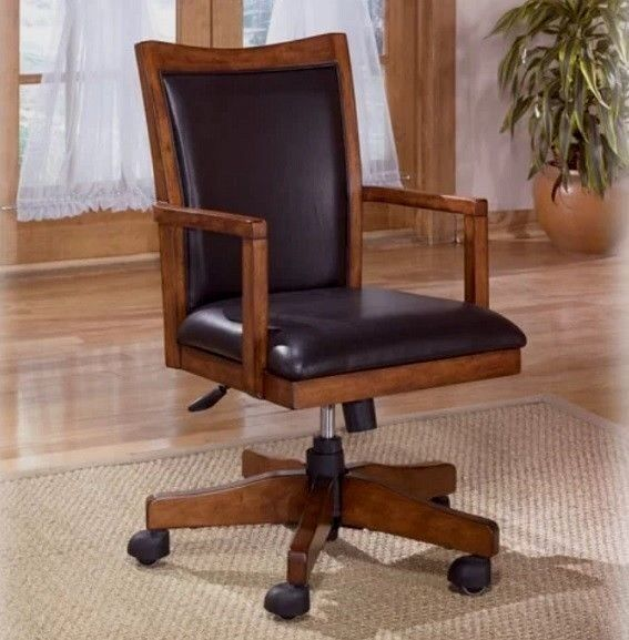 Awesome Executive Faux Leather Wood Swivel Office Desk Chair Rustic Mid Back Black Brown Beatyapartments Chair Design Images Beatyapartmentscom