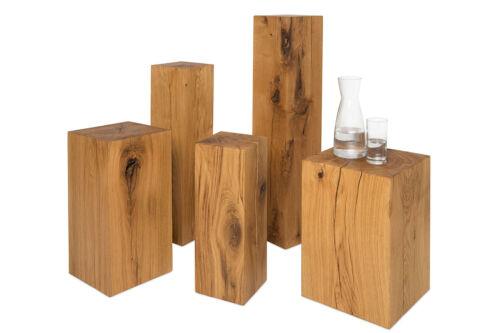 Schlüsselablage Dekosäule  17x17x50 cm Holz Eiche Massivholz Podest Säule