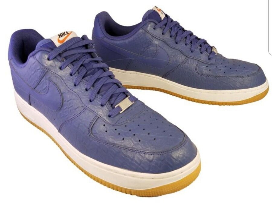 NIKE AIR FORCE 1 ONE Bleu LEATHER CROCODILE SNEAKERS Chaussures ATHLETIC Taille 13/47.5