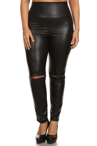 Women PLUS Black Slashed Knee Faux Leather High Waist Leggings Pants 1X 2X 3X