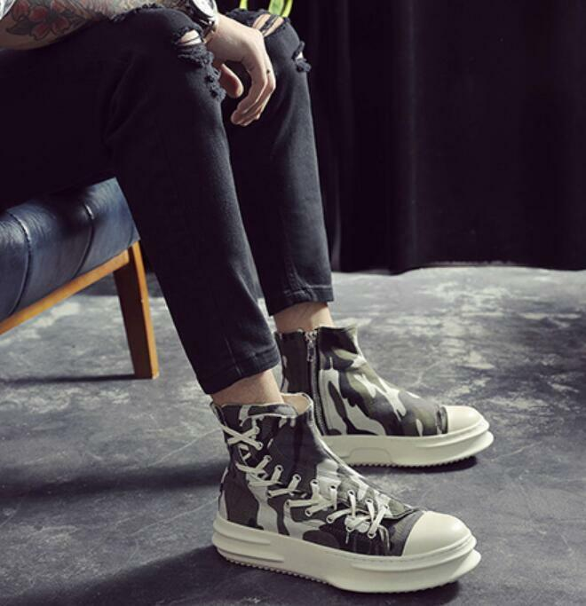 Homme High Top Lace Up Sneakers Casual Chaussures Athletic Canvas Hidden Heels Zip T