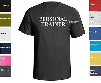 Personal Trainer T-Shirt Fitness exercise Gym Workout Shirt SZ S-5XL
