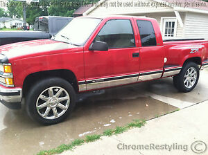 Details About Chrome Rocker Panels For Chevy Silverado 1996 1998 Step Side Extended Cab 2dr